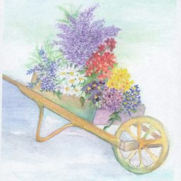 MC-717 CART OF FLOWERS