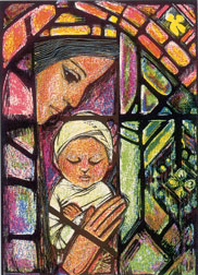C-28 STAINED GLASS MADONNA