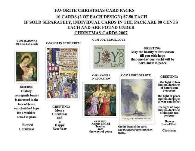 FAVORITE XMAS CARD PACKS 2007